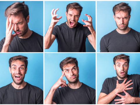 man shows various emotions, sadness, anger, excitement, contemplation, shock